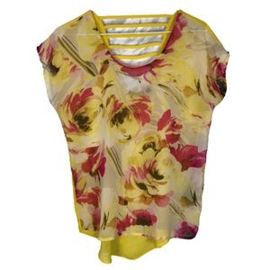 Dex Sheer Floral Top Open Back Detail Yellow Pink
